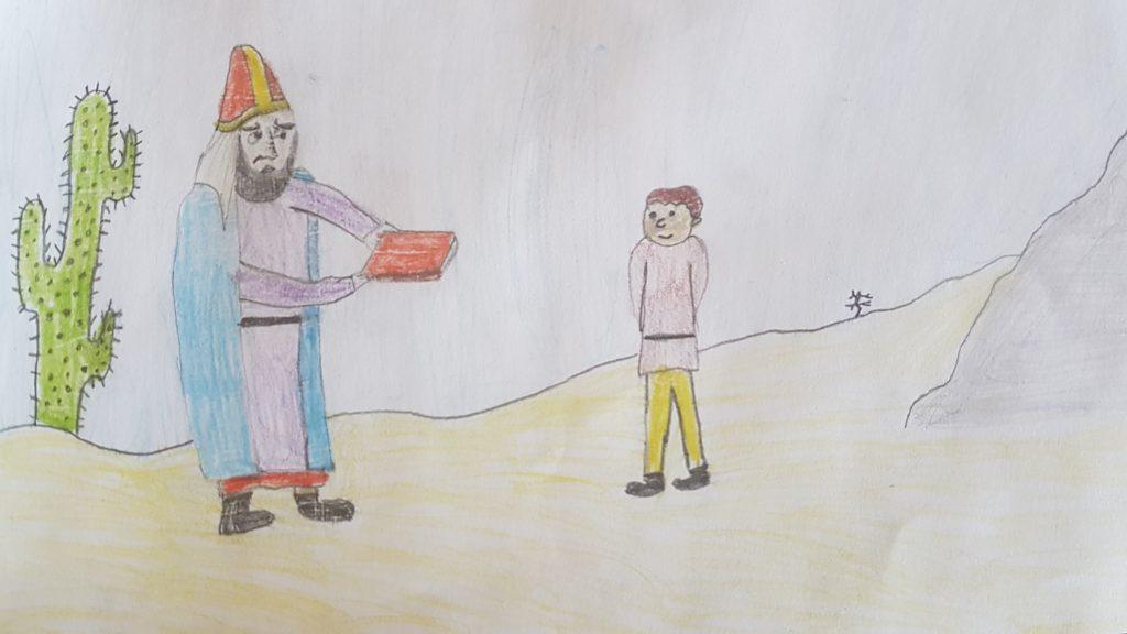 Wzmacniać się duchowo, Esseńczycy, Esseńczyk uczy małego Jana Chrzciciela na pustyni - oczami dziecka - Karmić się Słowem